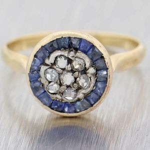 Jewelry - 1890s Rose Cut Diamond/Sapphire Cluster Ring